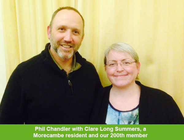 Phil Chandler with Clare Long Summers - Morecambe resident and our 200th member